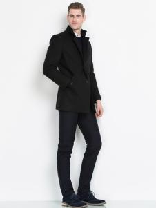袋鼠男装大衣17新款