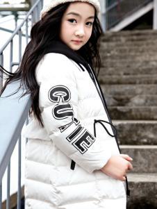 玛玛米雅2017秋冬新款白色羽绒服