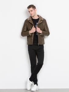 袋鼠男装英伦范皮夹克