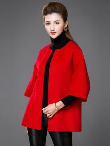 薇妮兰折扣女装秋冬红色大衣