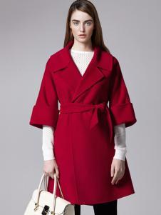 薇妮兰折扣女装秋冬玫红色大衣