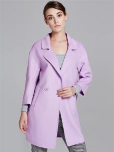 薇妮兰折扣女装秋冬浅紫色大衣