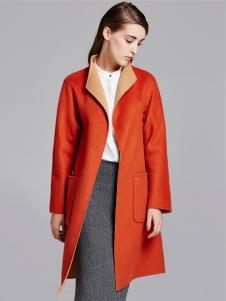 薇妮兰折扣女装秋冬橙红色大衣