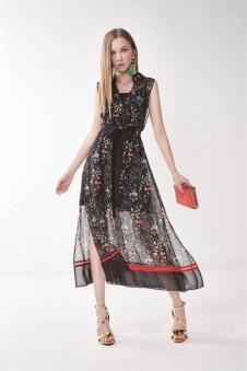 莎蕾新品雪纺印花长裙