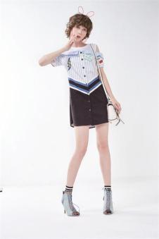 莎蕾新品条纹衬衫裙