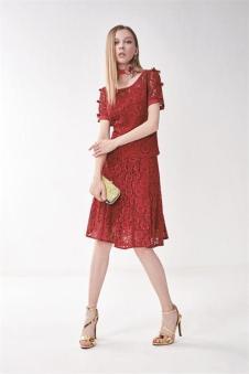 莎蕾新品红色蕾丝裙