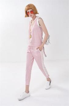莎蕾新品粉色休闲套装