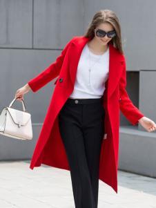 迪丝爱尔红色呢大衣