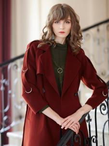 金蝶茜妮冬装新款绛红色大衣