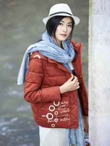 丽比多女装秋冬装新款红色羽绒服