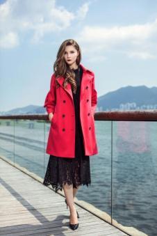 Theme2017冬季红色长款外套