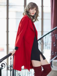 金蝶茜妮冬装新款红色大衣