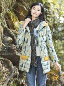 丽比多女装秋冬装新款印花羽绒服