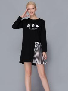 2017依路佑妮黑色拼接连衣裙