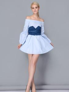 依路佑妮拼接连衣裙