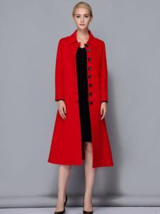 依路佑妮红色呢大衣