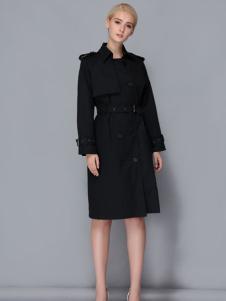 依路佑妮黑色大衣17新款