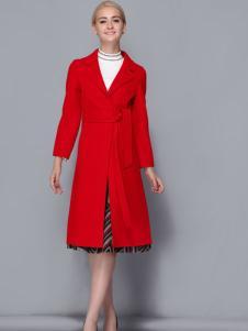 2017依路佑妮女装红色呢大衣