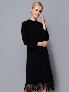 依路佑妮女装黑色打底裙