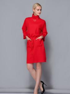 依路佑妮红色打底裙