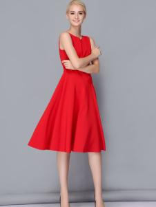 依路佑妮红色连衣裙17新款