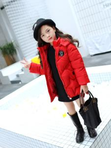 淘淘猫2017冬季新款中童红色羽绒服