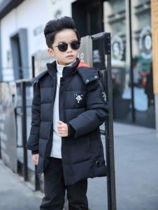 淘淘猫2017冬季新款男童黑色羽绒服