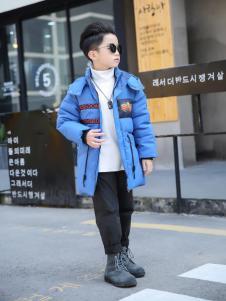 淘淘猫2017冬季新款蓝色羽绒服