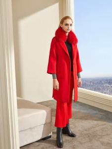 迪笛欧DIDIOU女装秋冬新款红色大衣