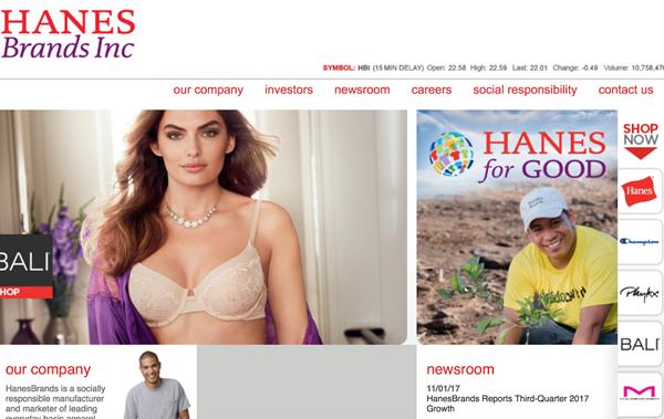 内衣制造商HanesBrands近8个季度以来净销售额首次恢复增长