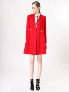 音非女装红色韩版大衣