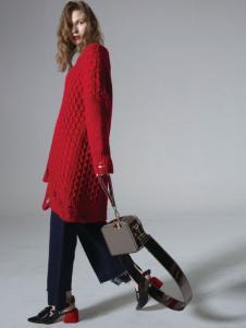 西蔻女装红色长款毛衣