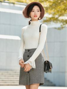 优衣美白色毛衣2017