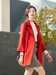 优衣美红色大衣2017