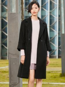 优衣美黑色大衣2017