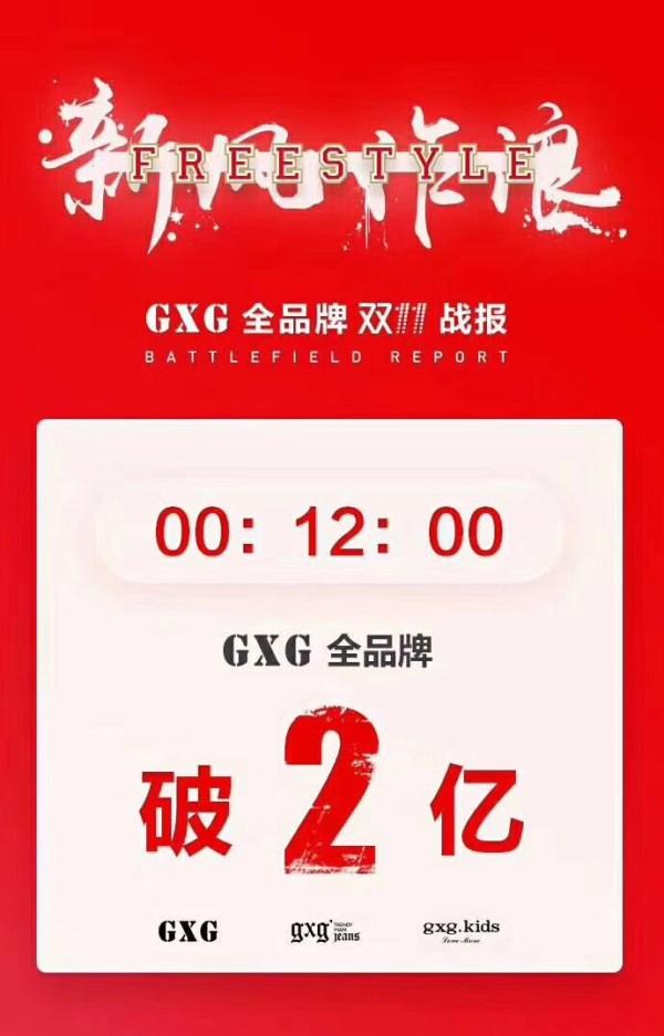 双十一:GXG全品牌12分钟破2亿,男装单品牌5分钟破1亿