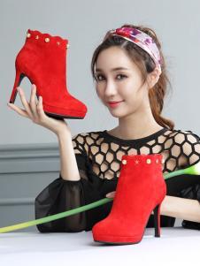 圣恩熙女鞋新款红色高跟鞋
