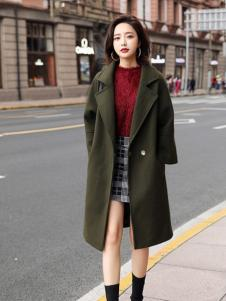 千姿惠女装新款军绿色呢子大衣