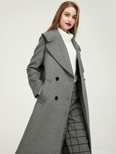 千姿惠女装新款银灰色呢子大衣