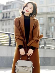 千姿惠女装新款棕色呢子大衣