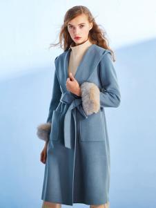 千姿惠新款浅蓝色大衣
