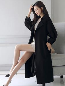 千姿惠女装新款黑色大衣