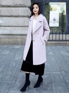 千姿惠女装新款浅紫色呢子大衣