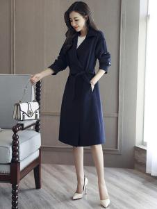 千姿惠女装新款蓝色大衣