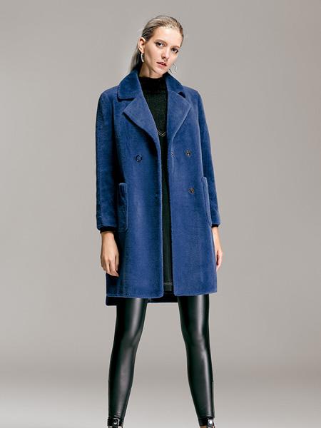 TRUGIRL楚阁冬装新款蓝色大衣