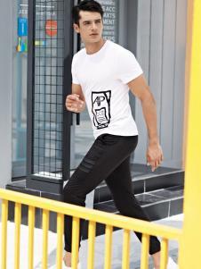 花雨伞男士白色T恤