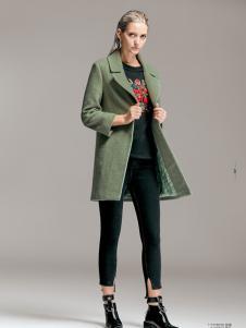 TRUGIRL楚阁冬装新款军绿色大衣