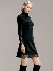 TRUGIRL楚阁冬装新款黑色连衣裙