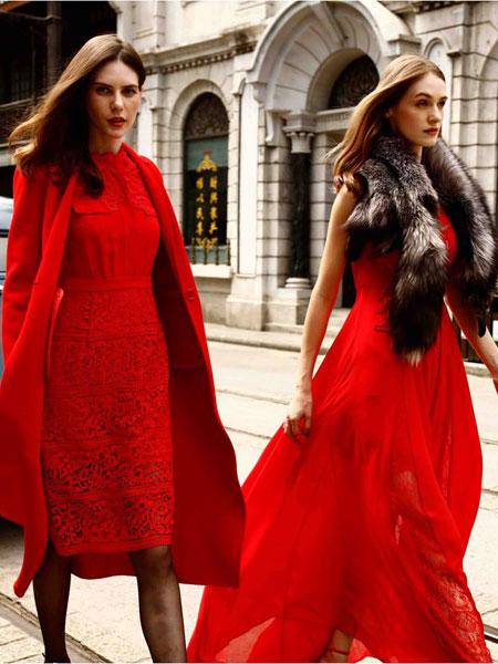 卡索女装红色连衣裙
