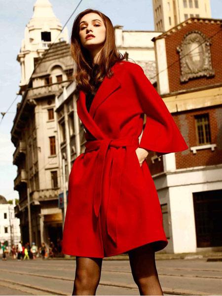 卡索女装红色大衣
